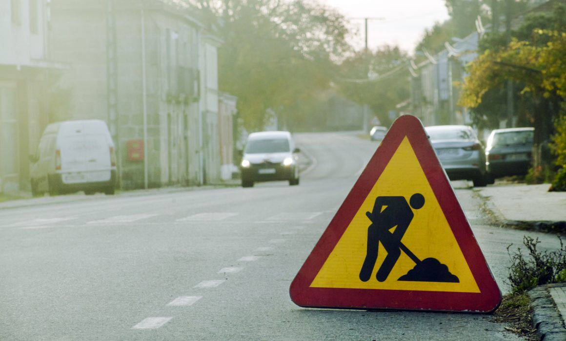 Road works ahead, road sign.
